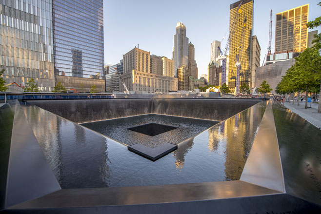 This is the of one of the towers, where people lost their lives in 9/11.