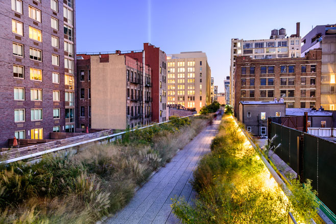 Walking on the High Line.